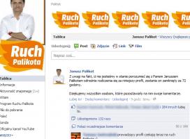 Fałszywy profil Janusza Palikota i wpis na temat faktur