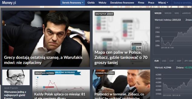 print screen strony głównej Money.pl