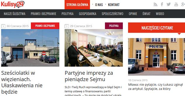 Kulisy24.com - print screen strony głównej