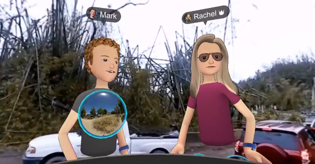 Facebook Spaces na tle Portoryko (źródło: Mark Zuckerberg | Facebook)
