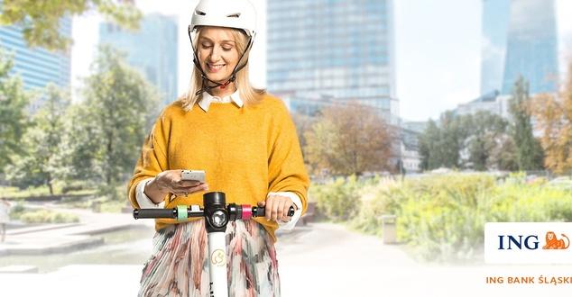ING Bank Śląski funduje 30 minut darmowej jazdy elektryczną hulajnogą w ramach nowej kampanii