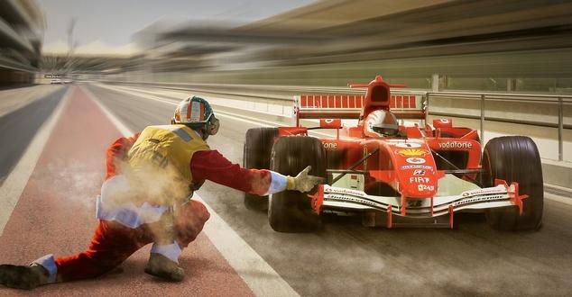 Ferrari, bolid F1, reklama, fot. papafox, pixabay