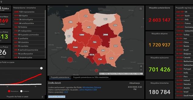 Cyfrowa mapa COVID-19 i aplikacja mapowa pomagają walczyć z epidemią