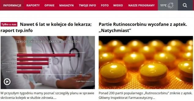 Serwis TVP Info przeszedł drastyczne zmiany w porównaniu do starszej wersji. Fot. PRTSCR