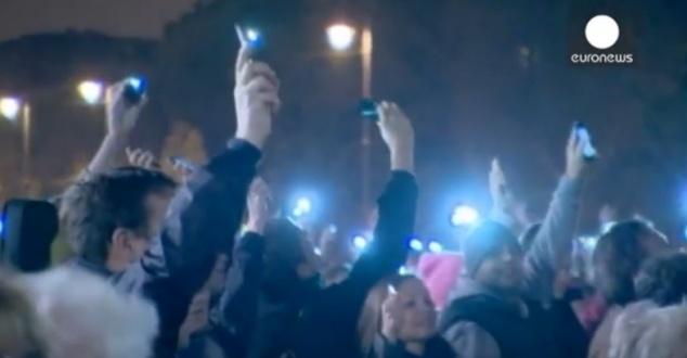 Protesty na Węgrzech, fot. Scrn YouTube